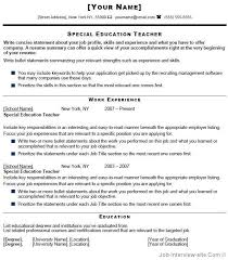 Special Education Teacher Resume Free Resume Templates