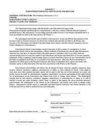 Free Subcontractor Lien Waiver Form Subcontractor Final Lien Waiver Form Fill Online Printable