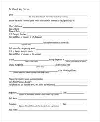 sle child travel consent forms