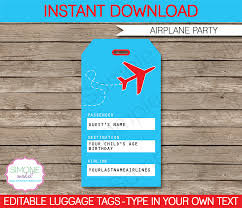 Airplane Party Luggage Tags Template Airplane Party