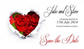 Red Save The Date Cards Paper Hearts With Red Roses Save The Date Cards