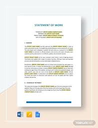 Template Of Statement Free Statement Of Work Template