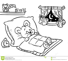 Small Picture Coloring Pages Sleeping Little Bear Stock Illustration Image