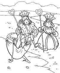 Small Picture Alice Bowing to King and Queen of Heart in Wonderland Coloring
