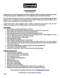 Job Description Community Sales Assistant Campbell Homes 50