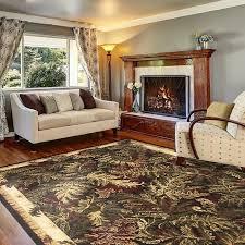 details about 8 x 10 tropical beach coastal area rug carpet black border red ferns 7 8 x10 4