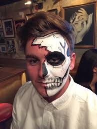 half skull makeup male facepaint costume ideas for guys by cailey brammer