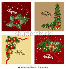 christmas cards backgrounds set christmas greeting cards collection holiday stock vector
