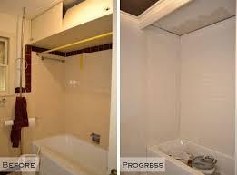 subway tile bathtub surround before and progress