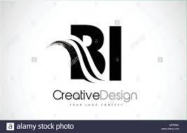 Bi Logo Design Bi B I Creative Modern Black Letters Logo Design With Brush