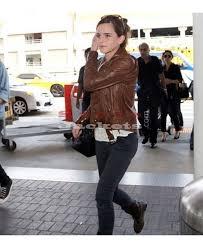 emma watson celebrity style slim fit brown biker jacket