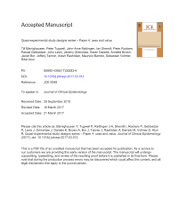 Experimental Vs Quasi Experimental Design Pdf Quasi Experimental Study Designs Series Paper 4 Uses