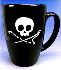 Contrary Wife Quilt Shop & Sewing Skull Mug, 14 ounces, Black and White Adamdwight.com