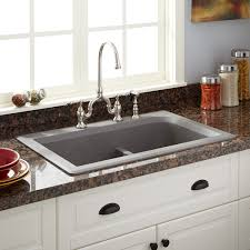 Kitchen Sinks Granite Composite 33 Fayette Double Bowl Drop In Granite Composite Sink Gray