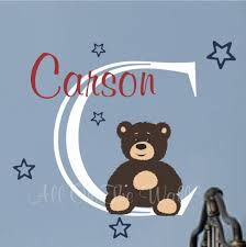 Baby Monogram Wall Decor Teddy Bear Wall Art Etsy