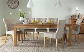 highbury oak extending dining table with 6 bewley oatmeal chairs