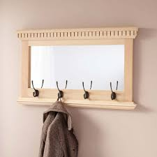 Solid Oak Coat Rack Mirrored Solid Oak Coat Rack with Classic Double Hooks Hardware 11