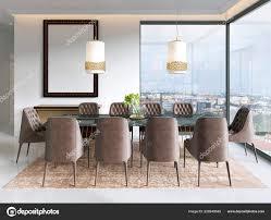 Moderne Esszimmer Mit Lampen Hängen Gibt Stühle Und Tisch