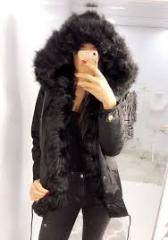 indigo black short black faux fur trim and hood coat