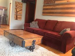 factory cart coffee table with storage