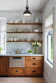 Small Picture Rustic kitchen design floating wall shelves wood wall tilesjpg