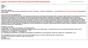 Warehouse Operations Manager Job Offer Letter