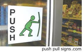 push and pull signs for glass doors stickers symbols images open