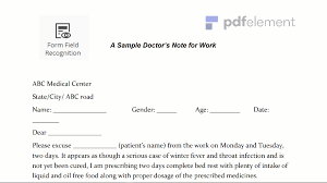 Doctor Notes Templates For Work Doctors Note For Work Template