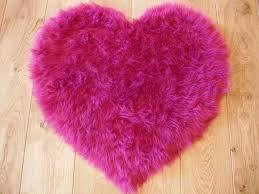 fluffy pink kids bedroom rugs washable mat girls heart shape rug fake faux fur
