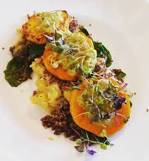 fine dining melbourne fl. vegan butternut squash, mashed potato, quinoa, spinach and brussels sprout dish at nola! *most fine dining restaurants can accommodate vegans splendidly. melbourne fl