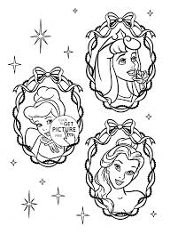 Three Disney Princesses Face Coloring Page
