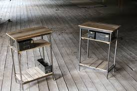 hand made reclaimed wood and steel night stands with vintage metal