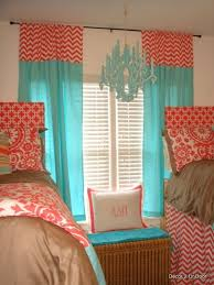 Bright and cheerful #dorm room #decor: Tiffany Blue and Coral Beautiful  Bedding,