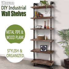 amazing industrial wall shelving 6 tier shelf pipe wood floating storage looking for a stylish utility
