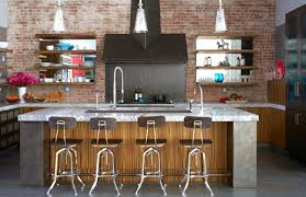 Industrial Wall Decor Enchanting Industrial Kitchen With Marble Top Also Brick Wall