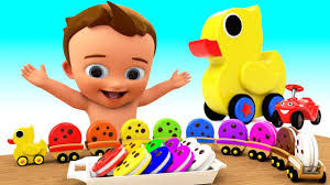 Children Education Cartoons Learn Colors For Children With Baby Duck Toytrain Biscuits 3d Kids