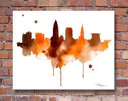 zoom on cleveland browns wall art with cleveland skyline abstract watercolor ohio art print