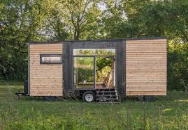 tiny house with garage. alpha tiny house sliding glass door straight side view with garage i
