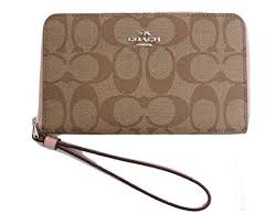 Coach Signature Phone Wallet Wristlet (KHAKI BLUSH2)