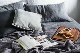 charcoal grey bed linen from lamb and stine