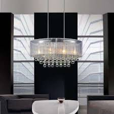 radiant 6 light chrome chandelier with white shade