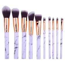 10pcs marble makeup cosmetic powder foundation eyeshadow lip brushes set