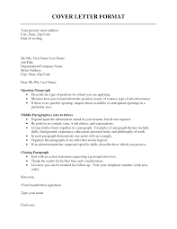 Format Of A Cover Letter Standart Photo Sample Opening Paragraph