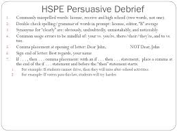 agenda turn in persuasive essay if needed debrief persuasive hspe persuasive debrief 1 4 hspe high school proficiency exams 2014