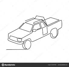 continuous line drawing of Pickup truck transport vector ...