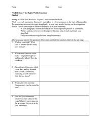 self reliance rdquo by ralph waldo emerson th th grade worksheet ldquoself reliancerdquo by ralph waldo emerson 10th 12th grade worksheet lesson planet