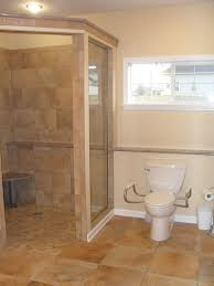 This no-threshold walk-in shower was designed for an individual with  compromised mobility. Universal design principles were applied.