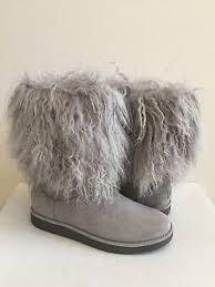 ugg lida classic mongolian sheepskin cuff grey gray boot us 8 eu 39 uk