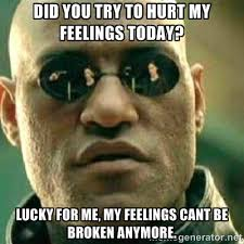 Did you try to hurt my feelings today? lucky for me, my feelings ... via Relatably.com