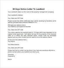 30 days notice letter to landlord example thirty day notice letter